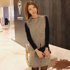 Seoul Fashion - Sleeveless Fringed-Trim Tweed Dress