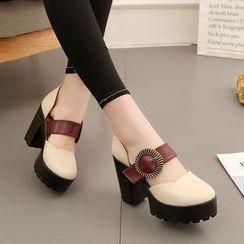 Yoflap - Platform Block Heel Shoes