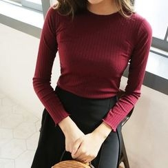 Seoul Fashion - Frilled-Edge Round-Neck Long-Sleeve Ribbed Knit Top
