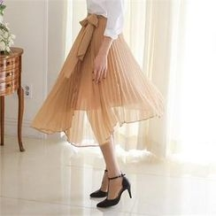 ode' - Accordion-Pleat Chiffon Midi Skirt