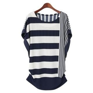 PEPER - Shirred-Side Dolman-Sleeve Striped Top