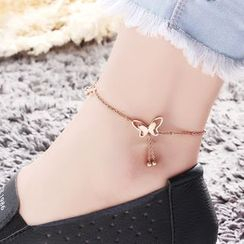 Claudette - Butterfly-Accent Anklet