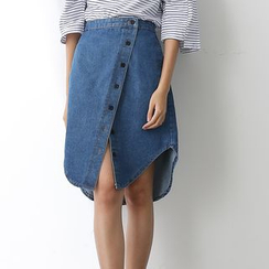 Sens Collection - Asymmetric Button-front Denim Skirt