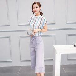 伊之戀 - 套裝: 條紋蓋袖T恤 + 八分寬腿褲