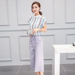 Sienne - Set: Striped Cap Sleeve T-Shirt + Capri Wide Leg Pants