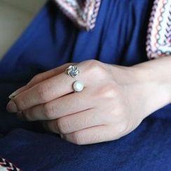 Love Generation - 純銀淡水珍珠碎花開口戒指