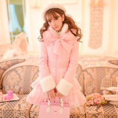 糖果雨 - 绒毛夹棉长大衣