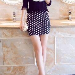 Effie - Dotted Pencil-Cut Skirt