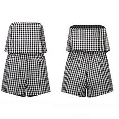 LIVA GIRL - Gingham Strapless Playsuit