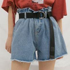 Heynew - Paper-Bag Waist Wide-Leg Denim Shorts