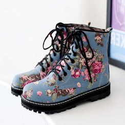 Pangmama - Floral Print Short Boots