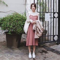mimi&didi - Sleeveless Pleated Long Dress