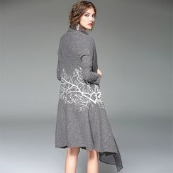 Y:Q - Inset Scarf Printed Coat