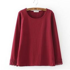 Citree - Long-Sleeve Lace trim T-Shirt