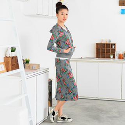 59 Seconds - Set: Rose Pattern Hood Jacket + Long Pencil Skirt