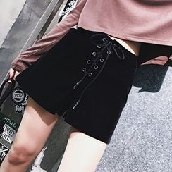 SHERRY - Lace Up Front Shorts