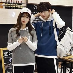 Je T'aime - Couple Matching Mock Two-Piece Hoodie
