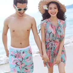 Little Dolphin - Couple Set: Print Bikini + Cover-Up / Swim Shorts