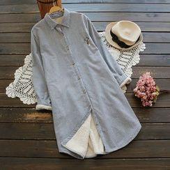 YOYO - 抓毛内衬条纹长衬衫
