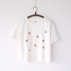 Bonbon - Short-Sleeve Embroidered T-Shirt