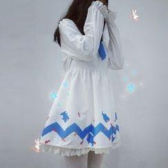Rega - Set: Shark Hooded Cape + Shark Print Long-Sleeve Dress