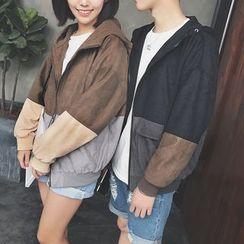 Breeson - Hooded Color Block Zip Jacket