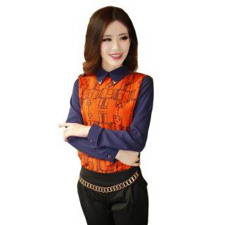 Mooiee - Metal-Tip Patterned Chiffon Blouse