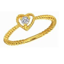 MaBelle - 18K Yellow Gold Heart Twisted Band Stackable Engagement Wedding Women Ring