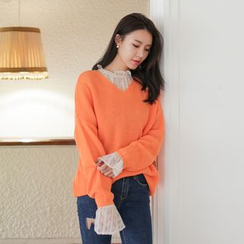 WITH IPUN - V-Neck Loose-Fit Rib-Knit Top