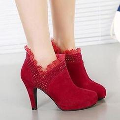 Mancienne - Lace-Trim Rhinestone Shoe Boots