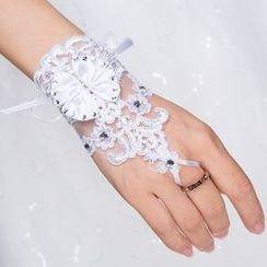 Sky n Sea - Embellished Lace Wedding Gloves