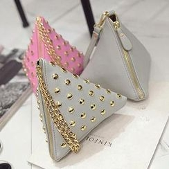 Diamante - Faux Leather Triangle Clutch