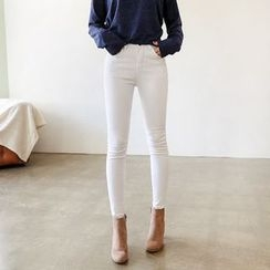 Seoul Fashion - Fray-Hem Skinny Pants