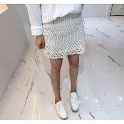 Miamasvin - Lace-Overlay Mini Pencil Skirt