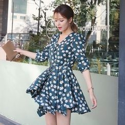 DABAGIRL - Tie-Waist Floral Pattern Mini Shirtdress