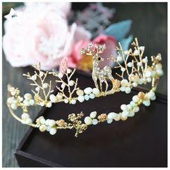 Neostar - Bridal Faux Pearl Deer Tiara