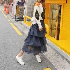 DABAGIRL - Ruffle-Tiered Chiffon Long Skirt