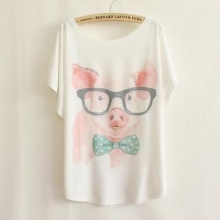 LULUS - Pig-Print Loose-Fit T-Shirt