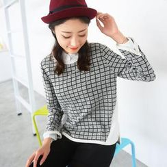 59 Seconds - Long-Sleeved Check Top