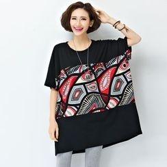 Yalaura - Print Panel Short-Sleeve Loose-fitT-shirt