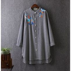 Blue Rose - Long-Sleeve Check Long Shirt