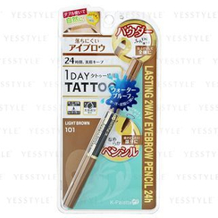 K-Palette - 1 Day Tattoo Lasting 2 Way Eyebrow Pencil 24h (#101 Light Brown)