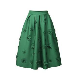 Flore - Flower Applique A-Line Skirt