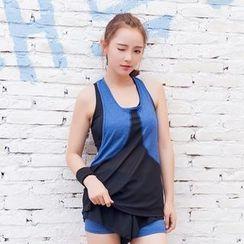 Cara Cloud - 套装: 拼色背心 + 运动短裤