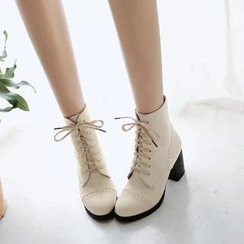 Pastel Pairs - Block Heel Lace Up Ankle Boots