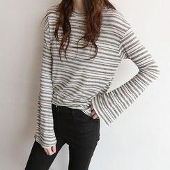 NIPONJJUYA - Bell-Sleeve Stripe T-Shirt