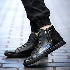 Chariot - Faux-Leather High-Top Sneakers