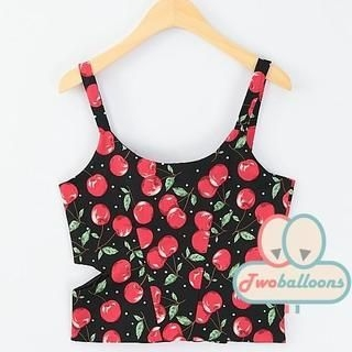 JVL - Cherry-Print Cropped Tank Top