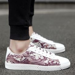 Chariot - Faux-Leather Printed Sneakers