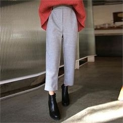 QNIGIRLS - Band-Waist Brushed Fleece Lined Pants